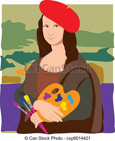 Mona Lisa clipart cartoon Of dressed Lisa Vector Clip