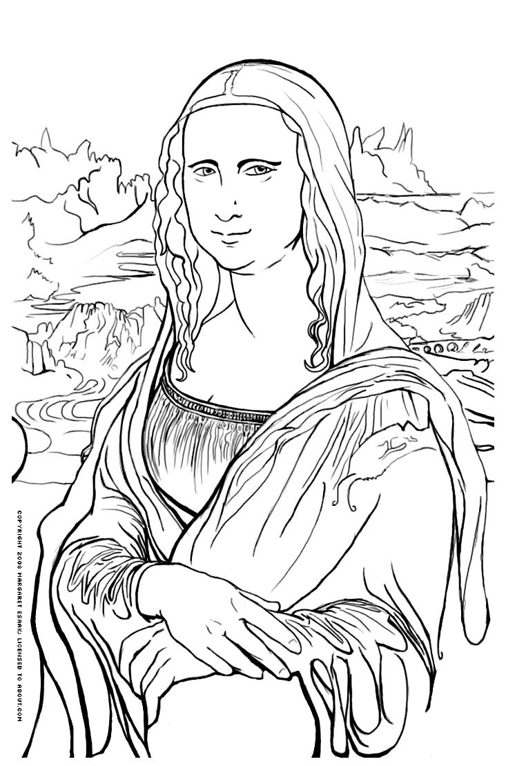 Mona Lisa clipart renaissance Coloring Free page Mona Mona