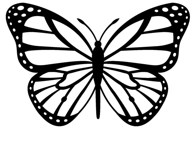 Monarch Butterfly clipart black and white #3