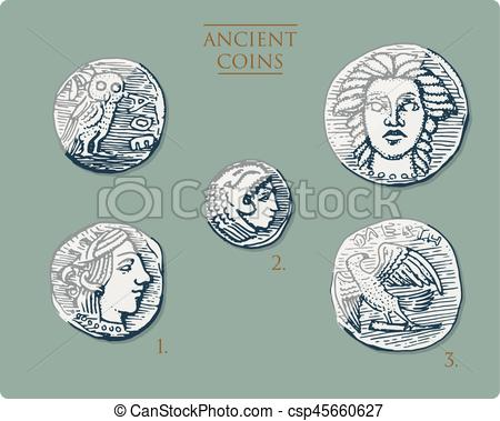 Money clipart ancient greek Vector coins ancient ancient with