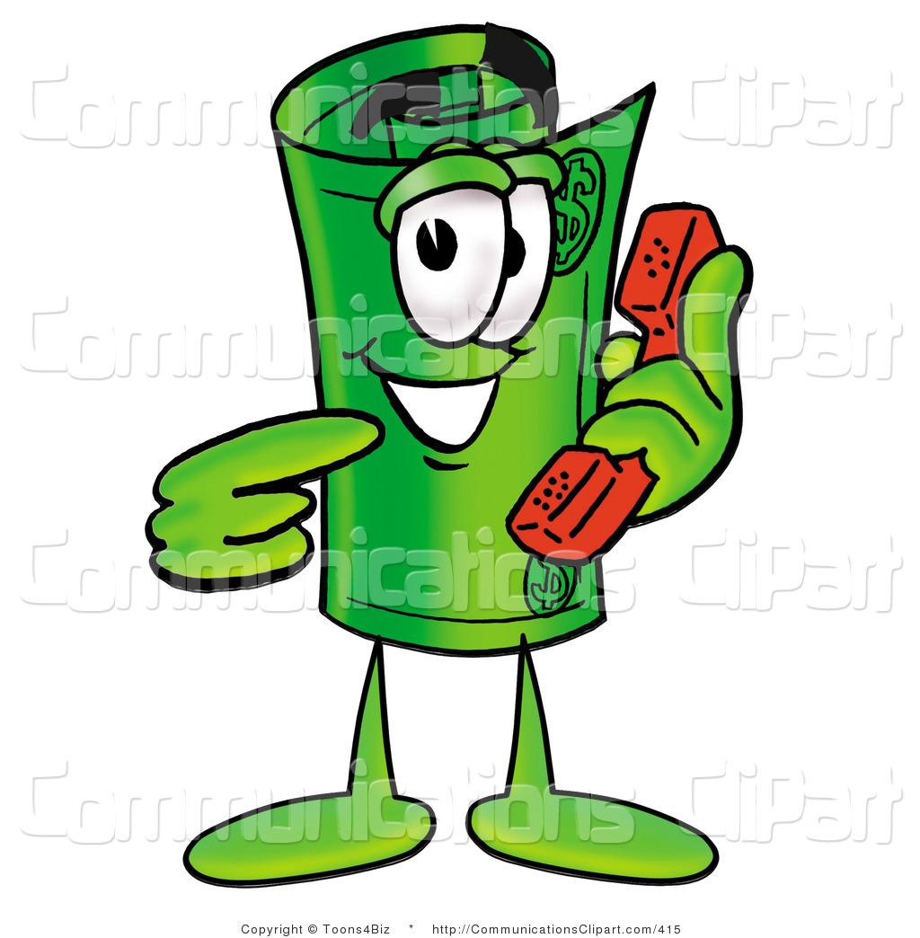 Cartoon Mascot Rolled of Telephone