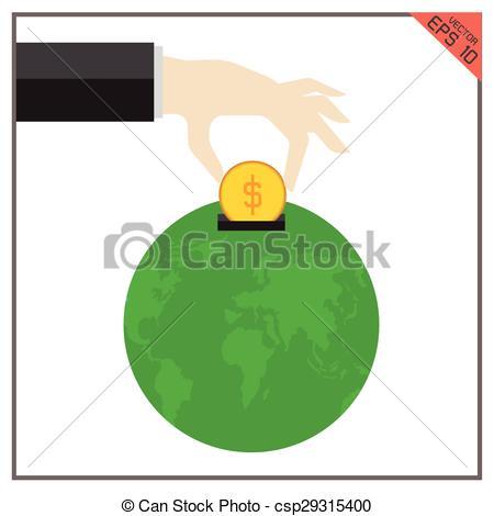 Money clipart earth Money of philanthropy vector earth