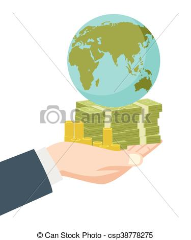 Money clipart earth Holding Hand Vectors earth globe