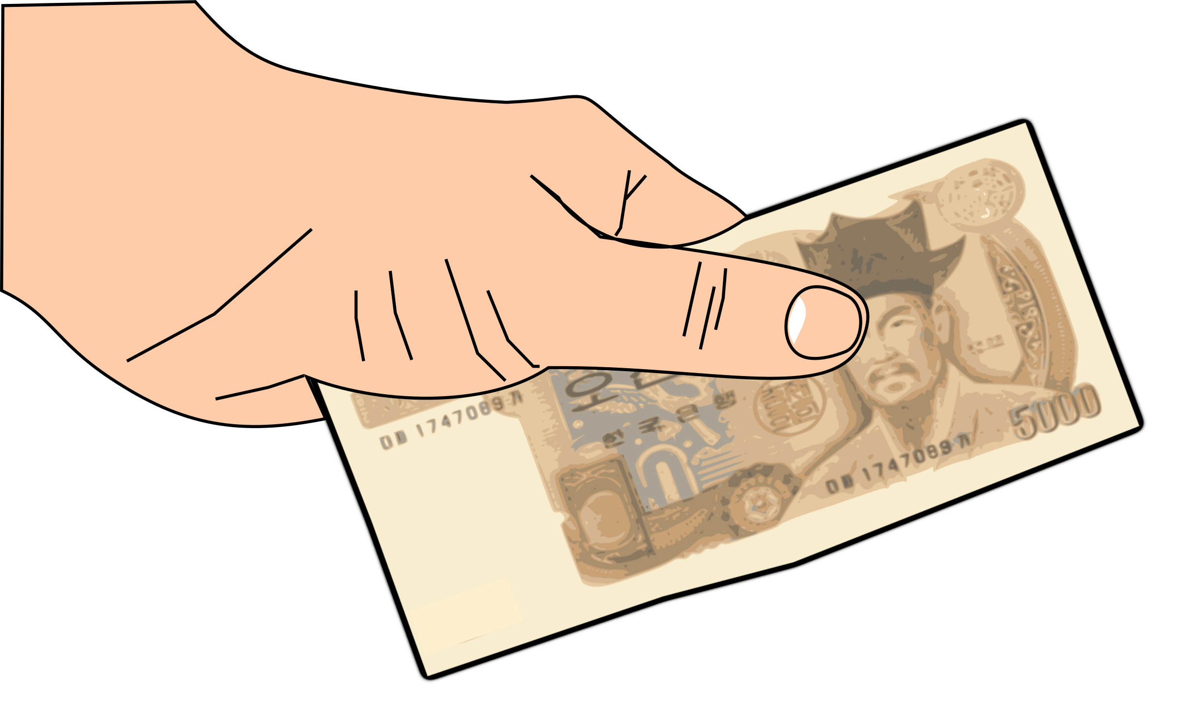 Money clipart hand gesture Clipart hand hand 5000won money