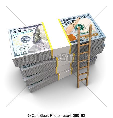 Ladder dollars Stock money of