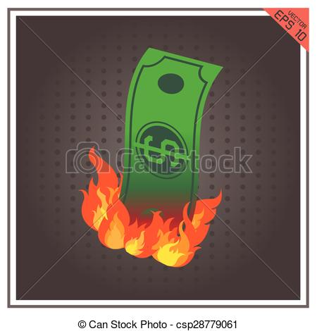 Money clipart on fire #8