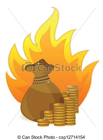 Money clipart on fire #2