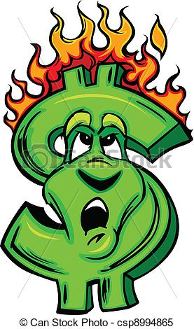 Money clipart on fire #1