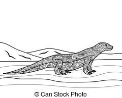 Monitor Lizard clipart For  coloring  adults