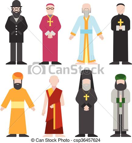 Monk clipart different religion Vector people  confession different