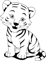 Tiiger clipart black and white #8