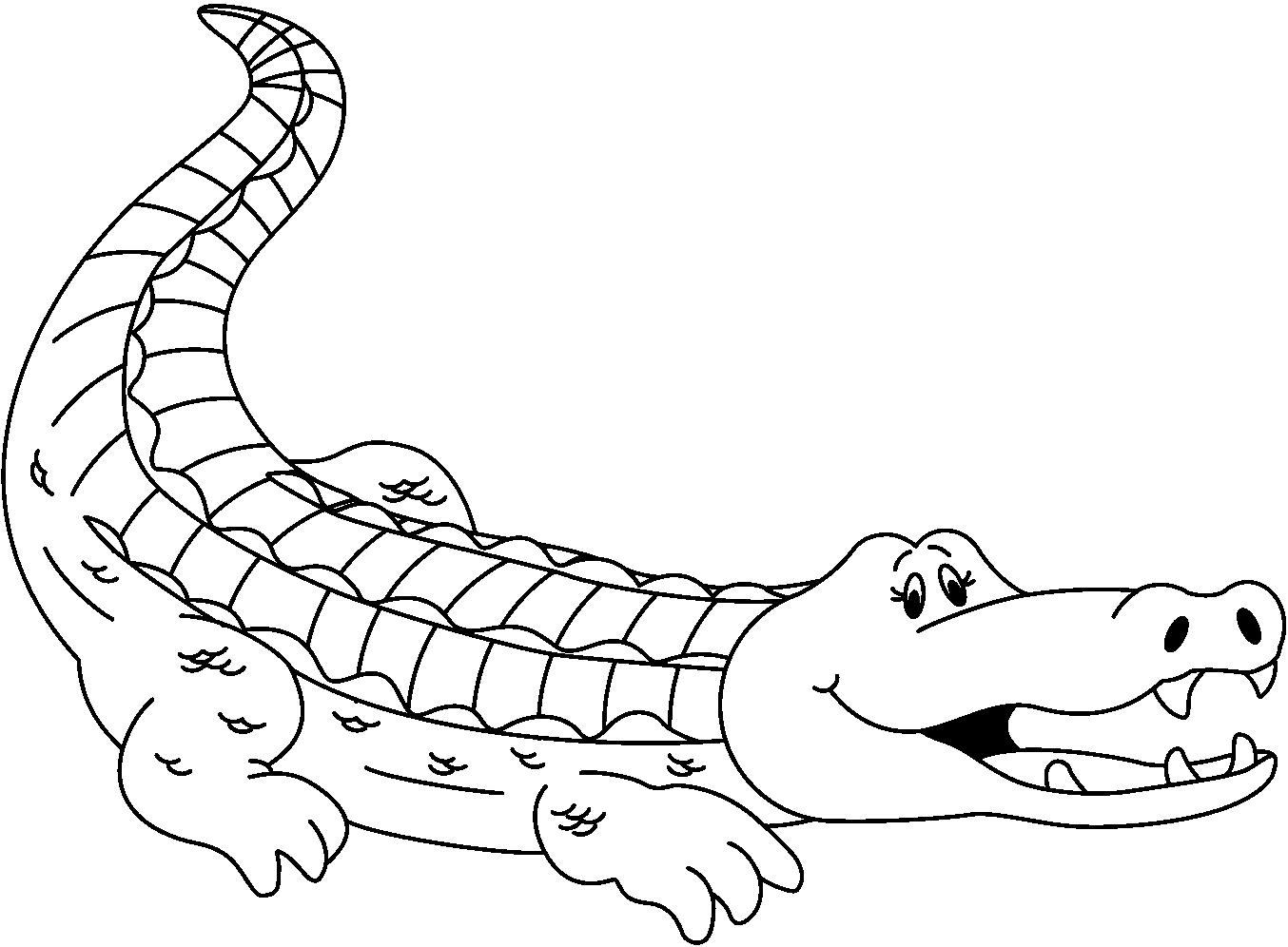 Monochrome clipart alligator #15