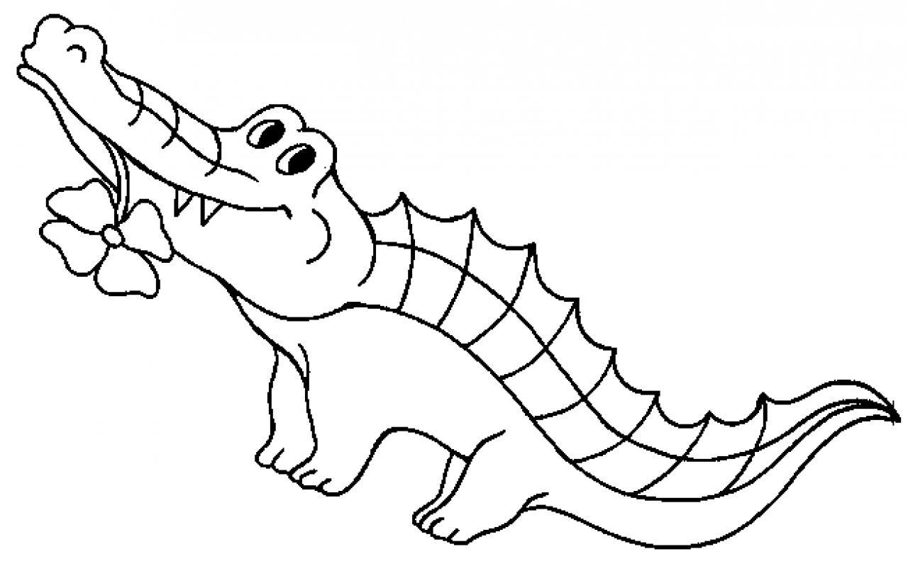 Monochrome clipart alligator #13