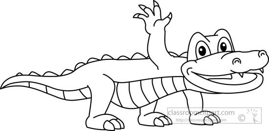 Monochrome clipart alligator #12