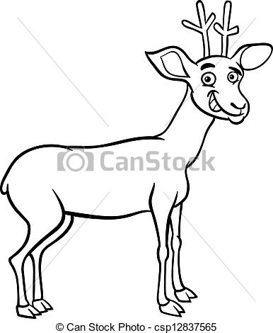 Black & White clipart deer Cartoon deer cartoon of Black