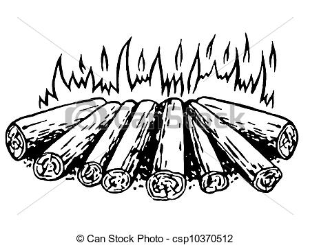 Drawn campfire Of log version white black