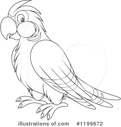 Monochrome clipart parrot By #1199672 outline clipart Illustration