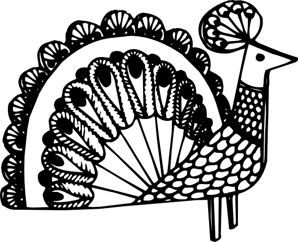 Peacock clipart black and white Free Peacock Images Feather Clipart