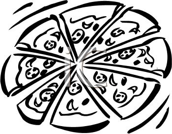 Black & White clipart pizza Free pw Black Clip Picture