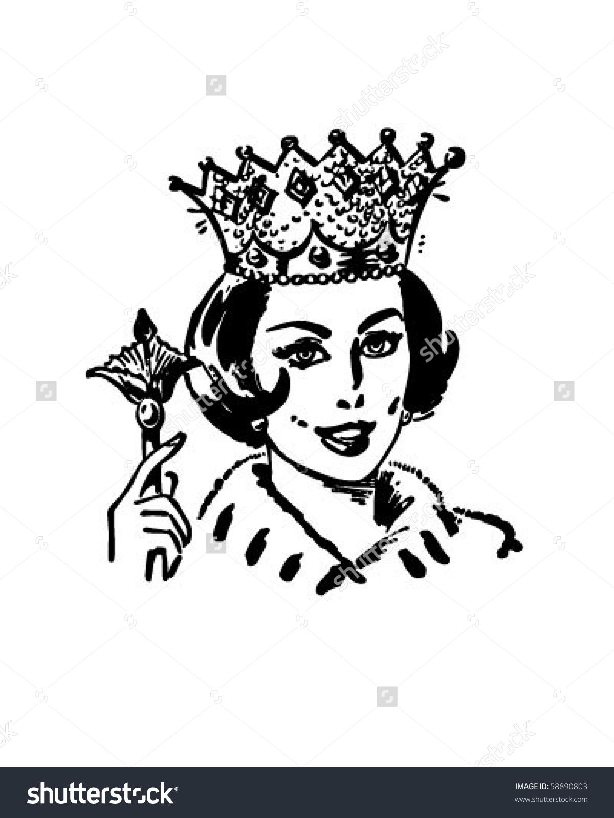 Monochrome clipart queen #12