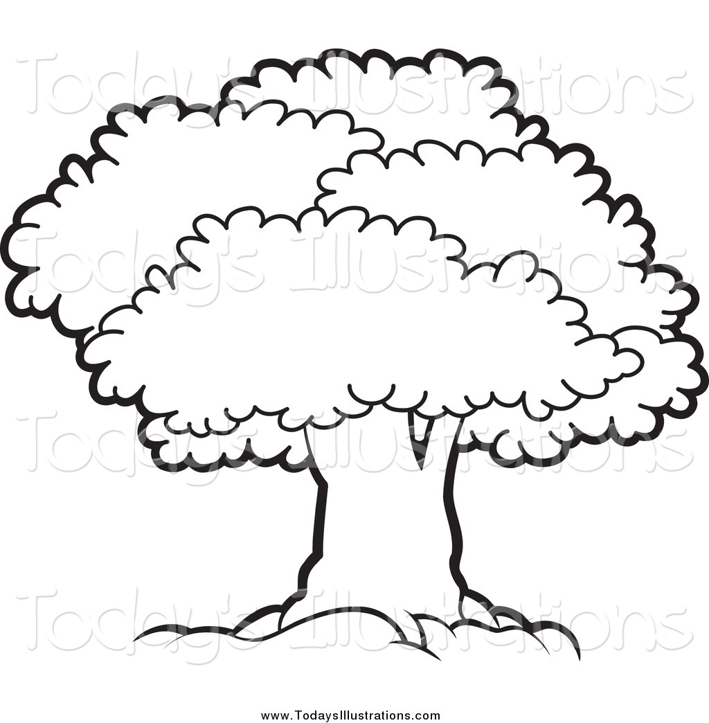 Larger clipart black and white Clipart White Mature Bushes and