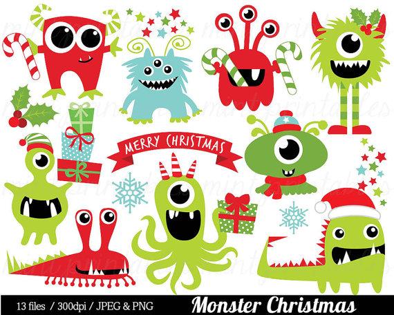 Monster clipart christmas Monster Art Christmas Monster Like