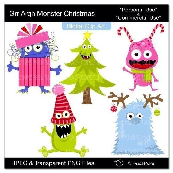 Monster clipart christmas Digital Christmas catalog monster clipart