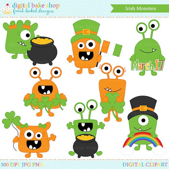 Monster clipart st patricks day Digital clip clip irish Art