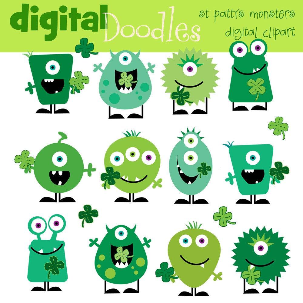 Monster clipart st patricks day Monsters art Monsters digital art