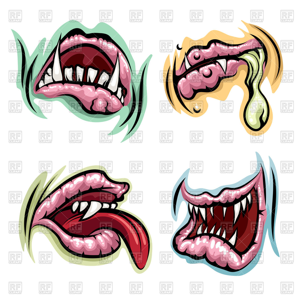 Of tongue Clipart mouths Set