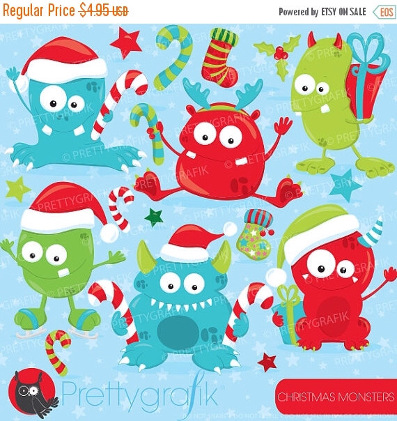 Winter clipart monster Vector winter OFF SALE commercial