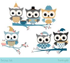 Winter clipart neighborhood Owl Christmas owl Blue monster