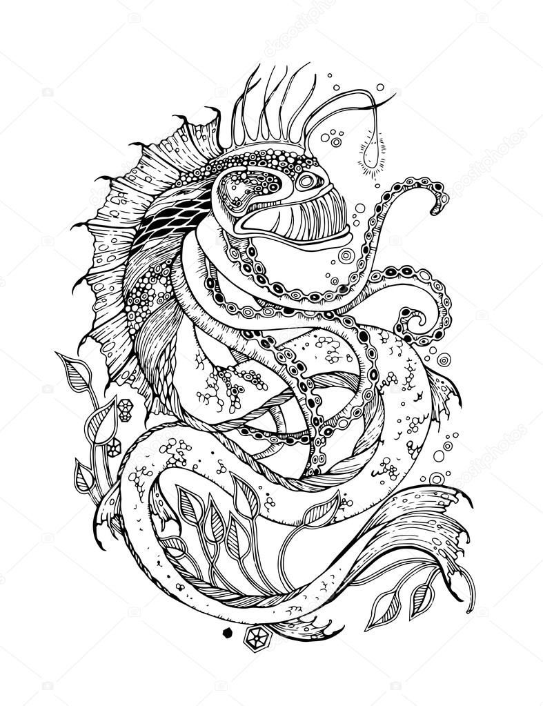 Monster Waves clipart black and white Monster Download #15 Waves coloring
