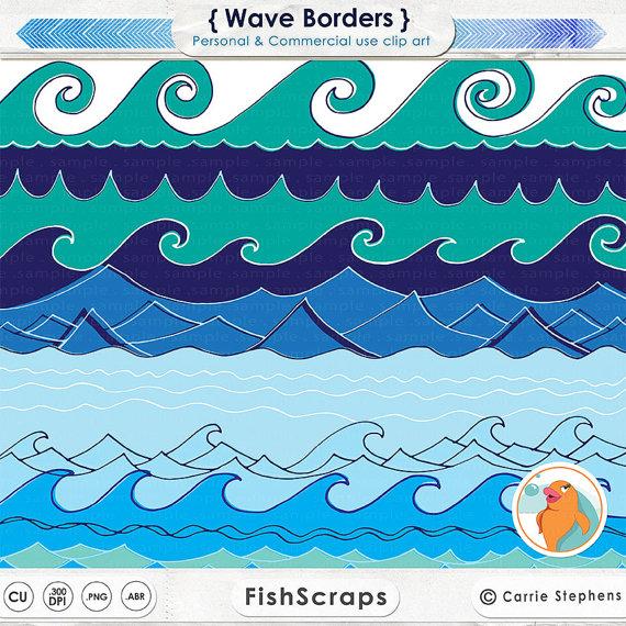 Monster Waves clipart border #8
