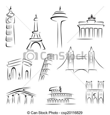 Architecture clipart famous place Most of buildings Set Famous