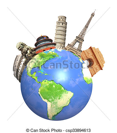Monument clipart globe World surrounding csp33894613  of