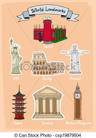 Parthenon clipart palace Landmarks of landmarks hand icon