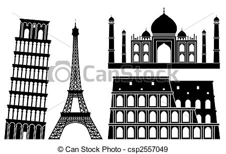 Structure clipart black and white EPS clip  Monument places