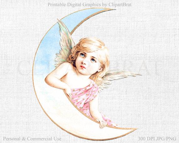 Moon clipart angel Clipart ClipArtBrat Moon FAIRY VICTORIAN