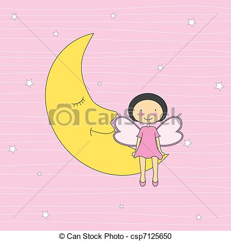 Moon clipart angel Of sitting Girl card on