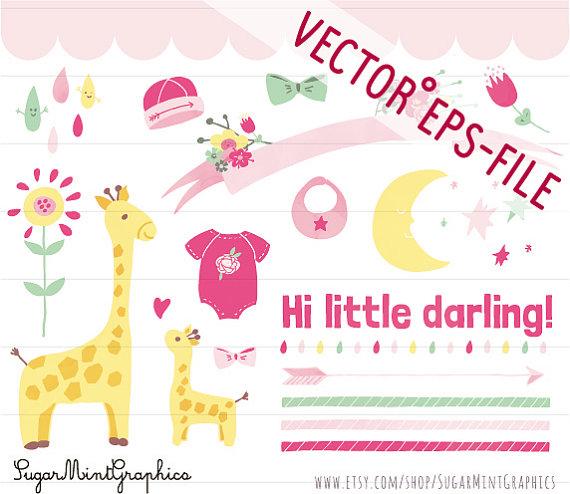 Moon clipart baby shower Giraffe Art Download SugarMintGraphics Vector