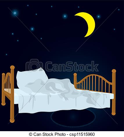 Bed clipart night moon Moon Unmade under vector Unmade