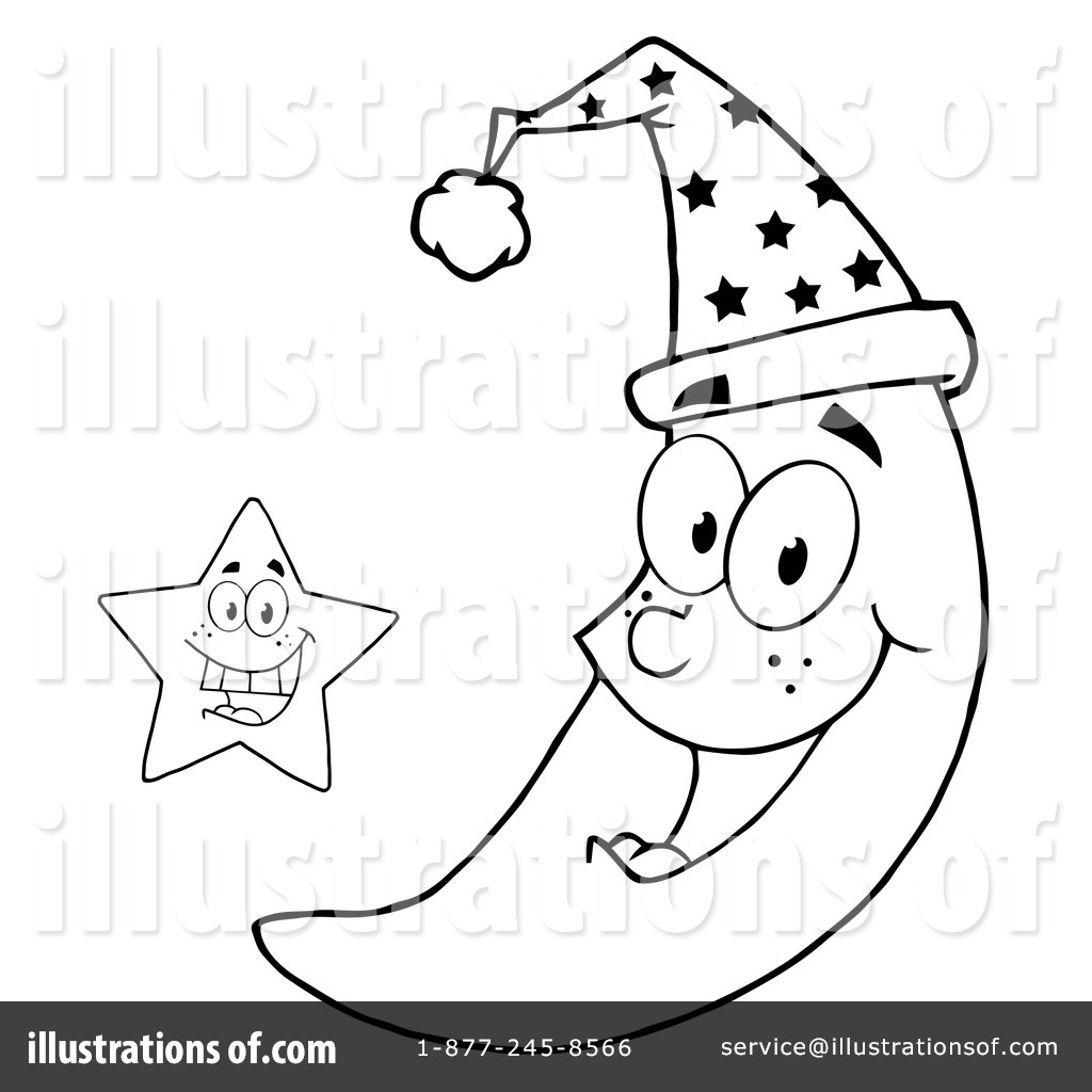 Moon clipart coloring book #10