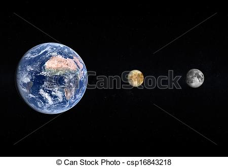 Moon clipart europa Background starry Planet rendered the
