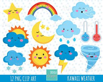 Clouds clipart kawaii Use kawaii graphics Etsy clipart