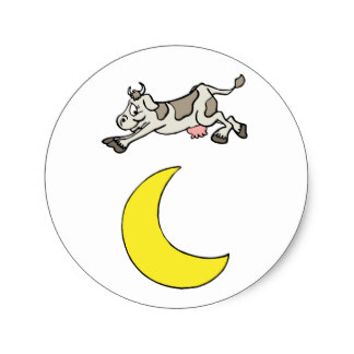 Moon clipart round Over Classic Jumped Round Stickers
