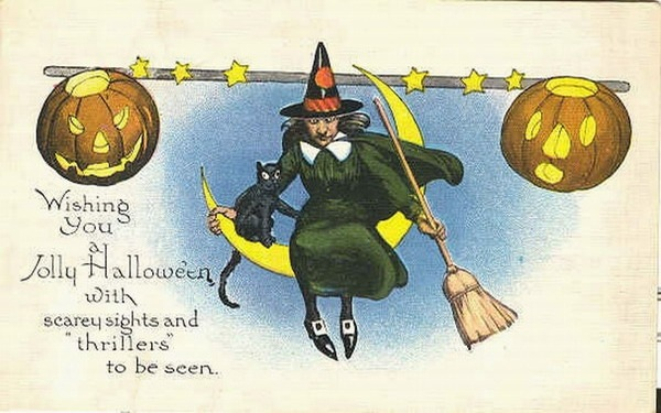 Moon clipart vintage halloween Free Clip half witch Crafts