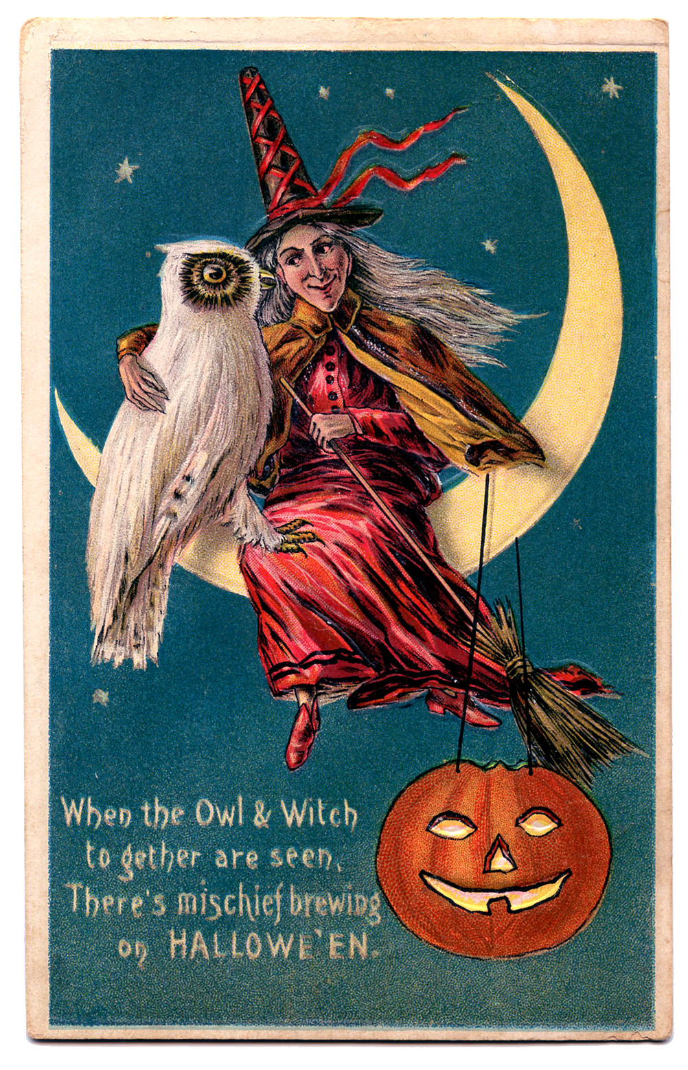 Witch clipart vintage halloween – Art Owl Pumpkin Witch