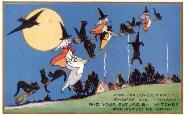 Witch clipart vintage halloween Art witches crow Halloween three