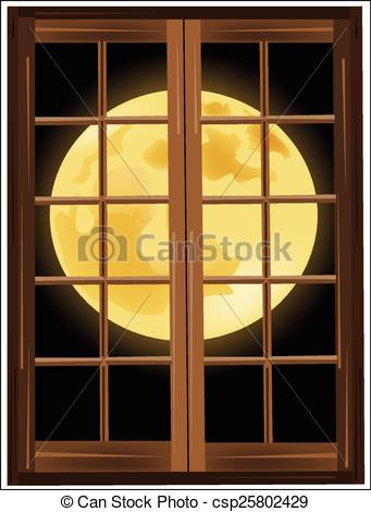 Window clipart moon Outside the the Illustration window